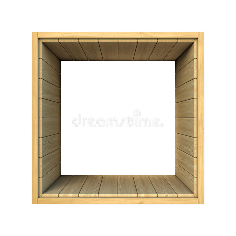 Wooden shelf isolated on white background stock illustration