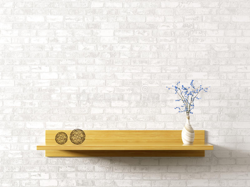 Wooden shelf over brick wall interior background 3d rendering royalty free illustration