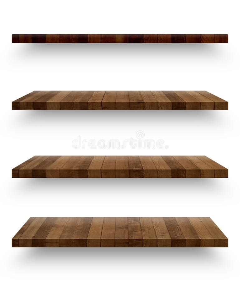 Wooden shelf template set isolated royalty free stock photo