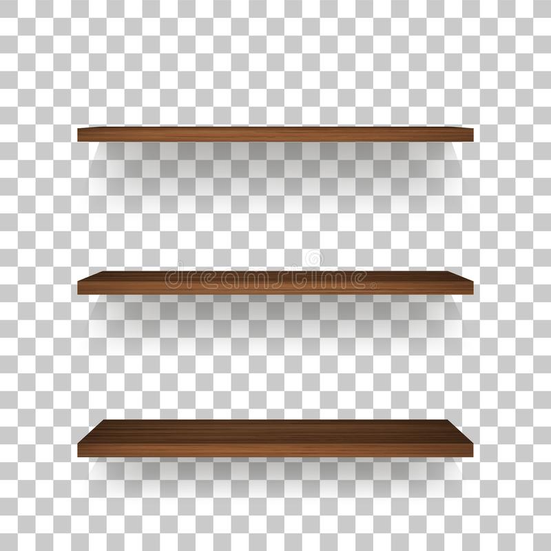 Wooden shelf on transparent background with soft shadow. stock illustration