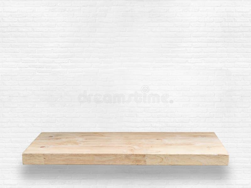 Wooden shelf. On white background stock photos