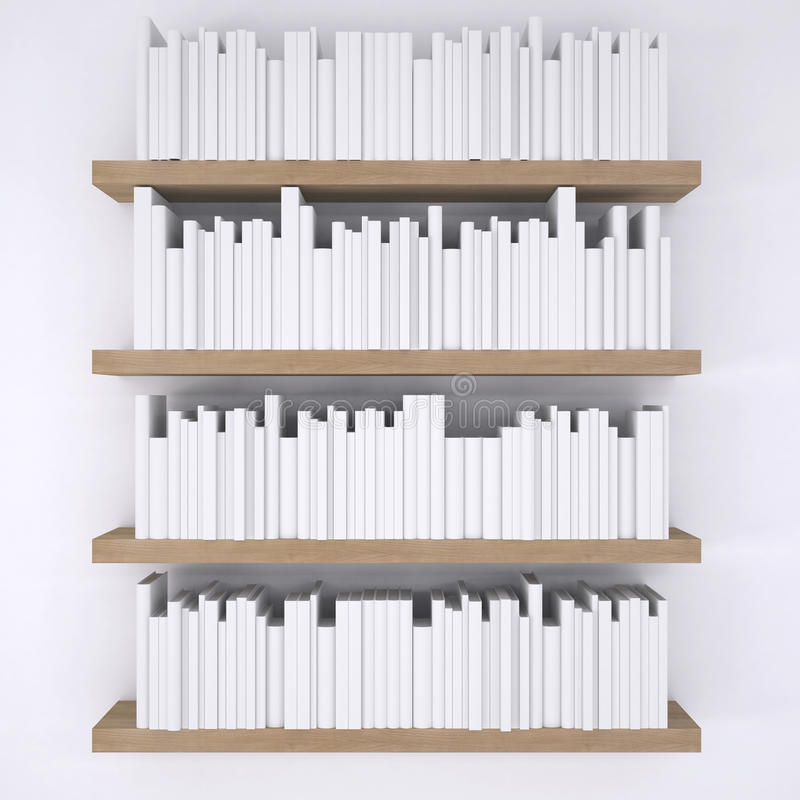 Wooden shelfs with books on white wall background stock illustration