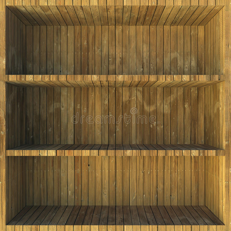 Wooden shelves stock images