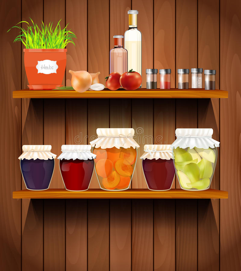 Wooden shelves with the foods in the pantry royalty free illustration