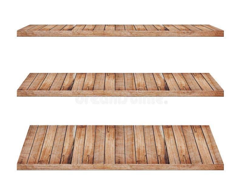 Wooden shelves stock image