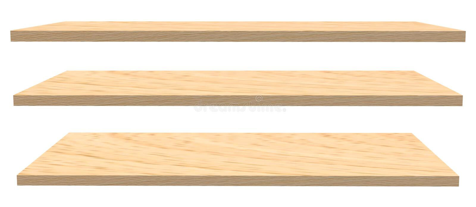 Wooden shelves isolated on white royalty free stock photography