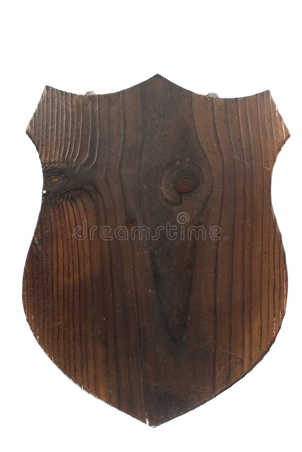 Wooden Shield Plaque royalty free stock image