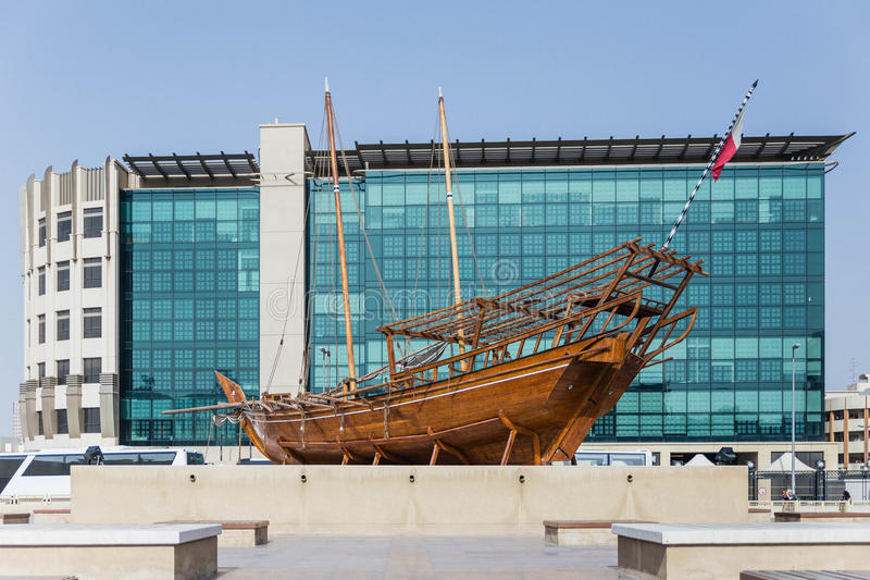 The Wooden Ship of Bedouin People in the History. A Part of Dubai Museum.  stock photo