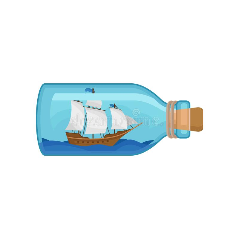 Wooden ship and blue water inside of glass bottle. Flat vector icon of miniature model of marine vessel. Hobby and. Wooden ship with gray sails and blue water vector illustration