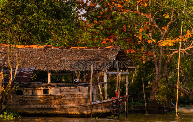 A wooden ship in Mekong river delta, Vietnam royalty free stock photography