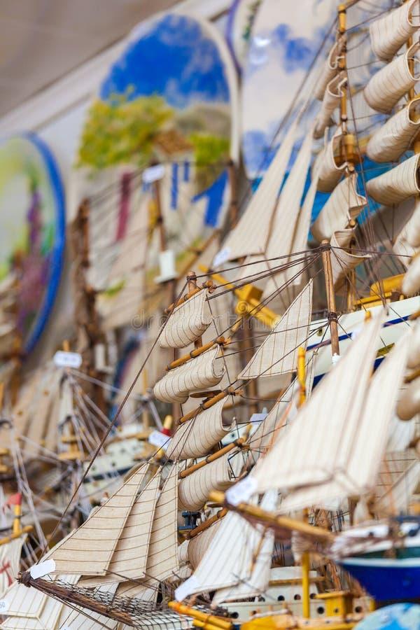 Wooden Ship Miniature Models Souvenir Shop. Crete, Greece royalty free stock image