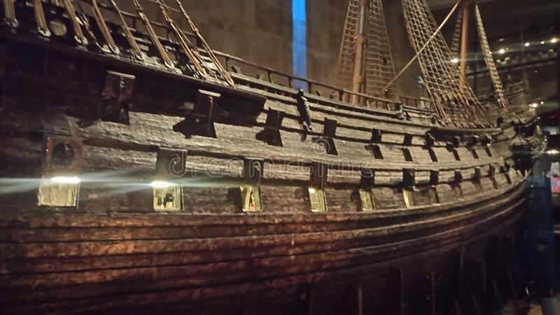 Wooden ship in museum royalty free stock photography