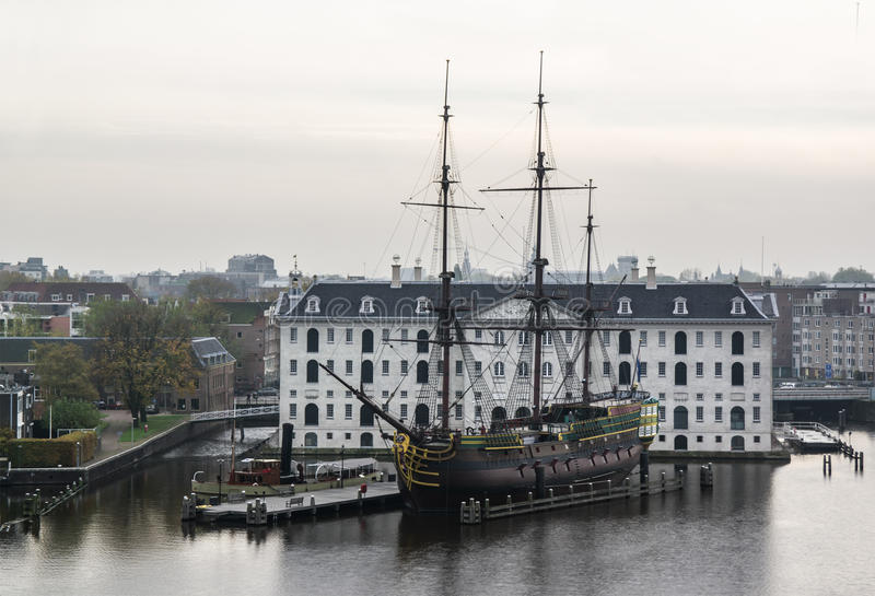 Wooden ship. Replica of a wooden ship in front of museum in Amsterdam royalty free stock photography