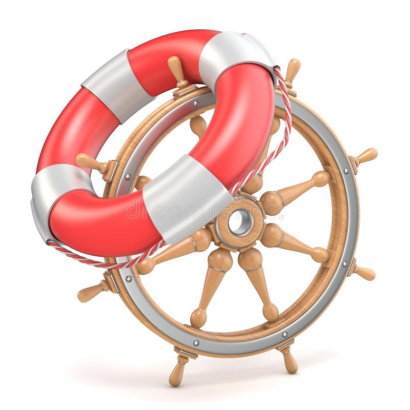 Wooden ship wheel and life buoy 3D royalty free illustration