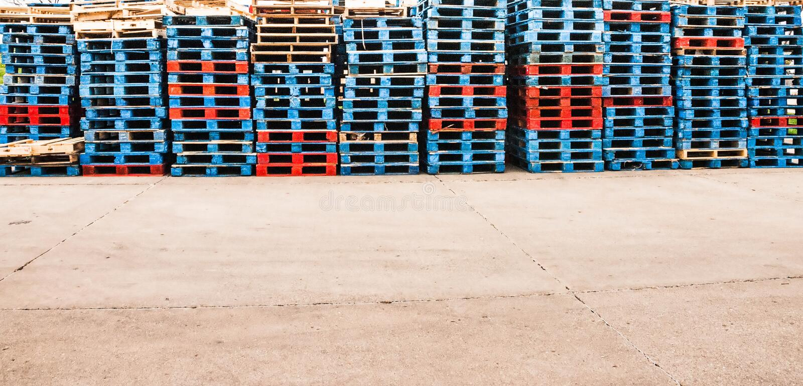 Wooden shipping pallets royalty free stock photography