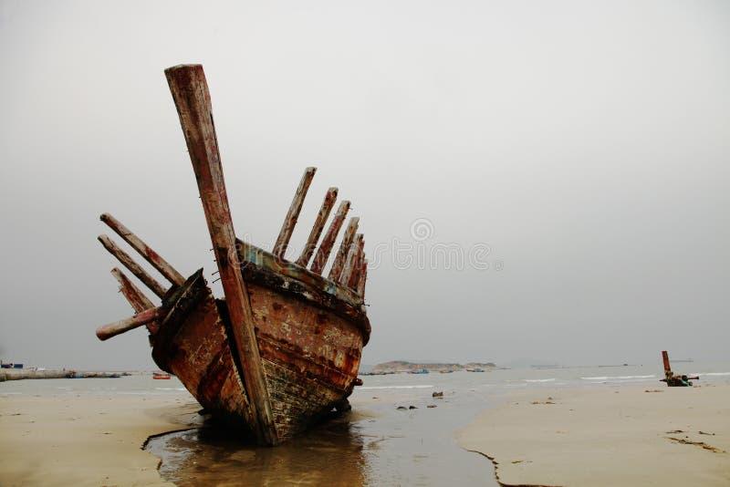 Wooden shipwreck stock photos