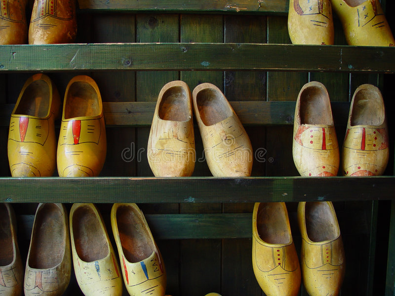 Wooden shoes. Storage of wooden shoes at the entry of a Dutch farm