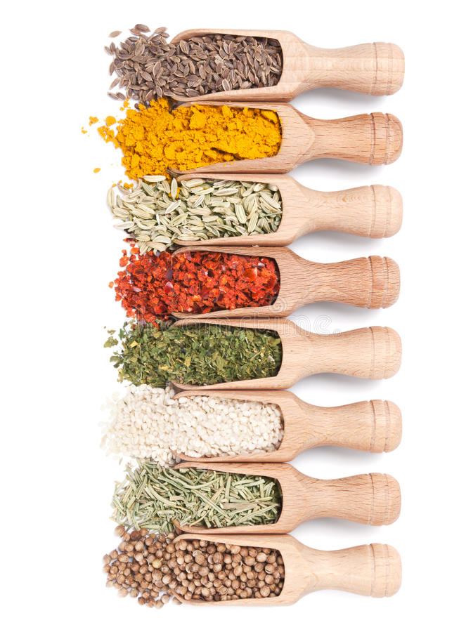 Download Wooden Shovels With Different Spices Stock Photo - Image of gourmet, scoop: 23525884