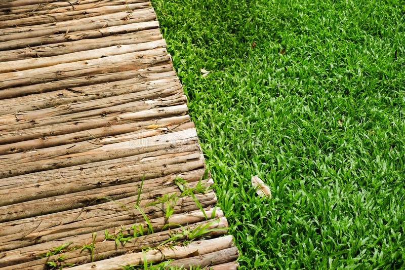 Wooden sidewalk and green lawn for background or texture. stock photo