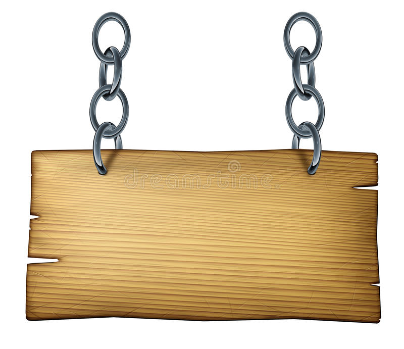 Wooden Sign. Old wooden blank sign made of weathered wood as cedar or pine with a metal chain link connected and hanging the plank on a white isolated background stock illustration