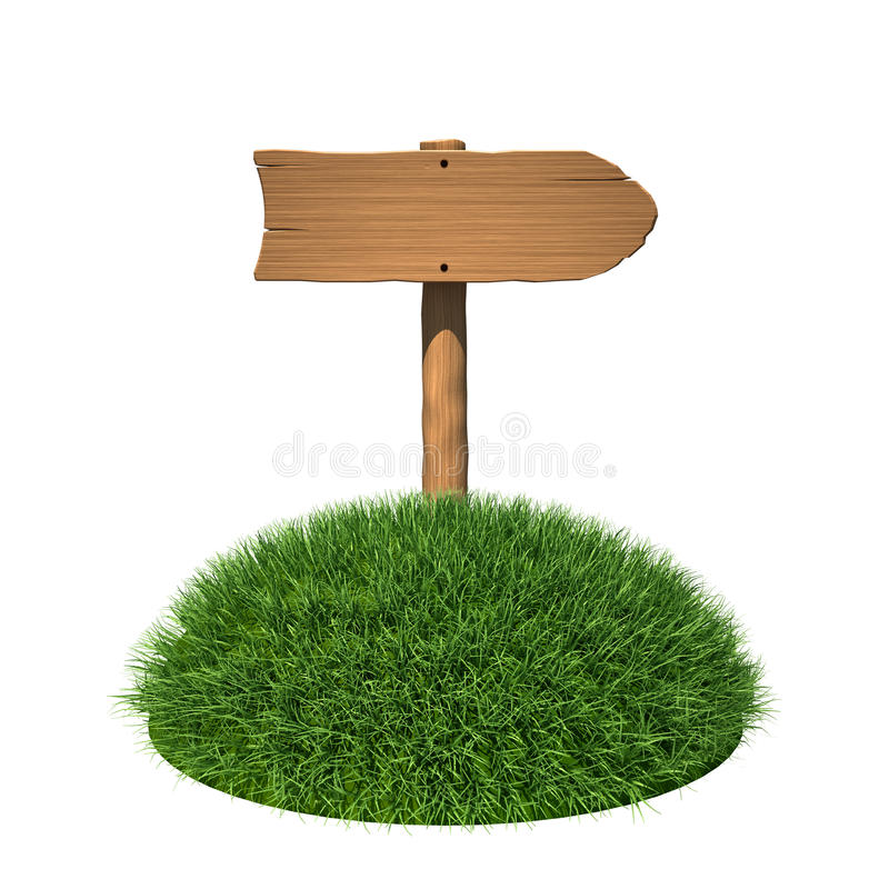 Download Wooden Sign As Arrow With Grass Stock Illustration - Image: 20382196