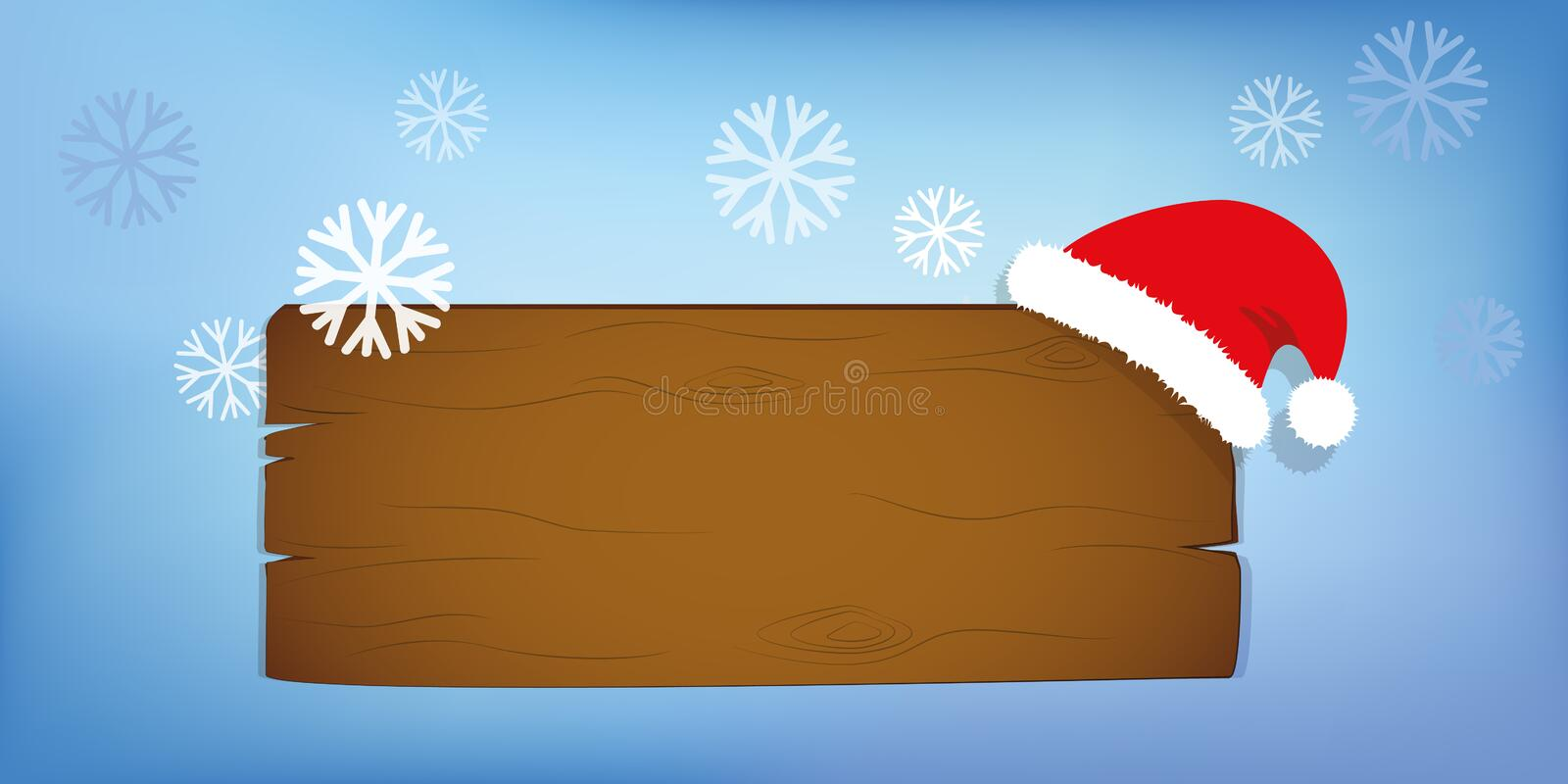 Wooden sign blank board and winter snow falling with copy space and Santa hat stock illustration