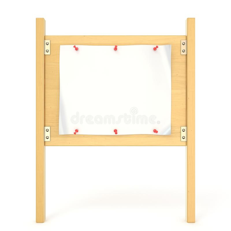 Wooden sign board with blank poster and red thumbtack. 3D vector illustration