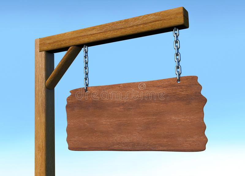Wooden sign board hanging on chain and space for text royalty free illustration