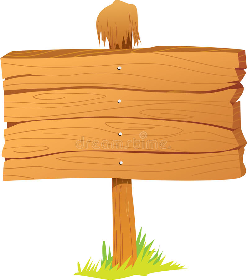 Wooden sign board stock illustration of