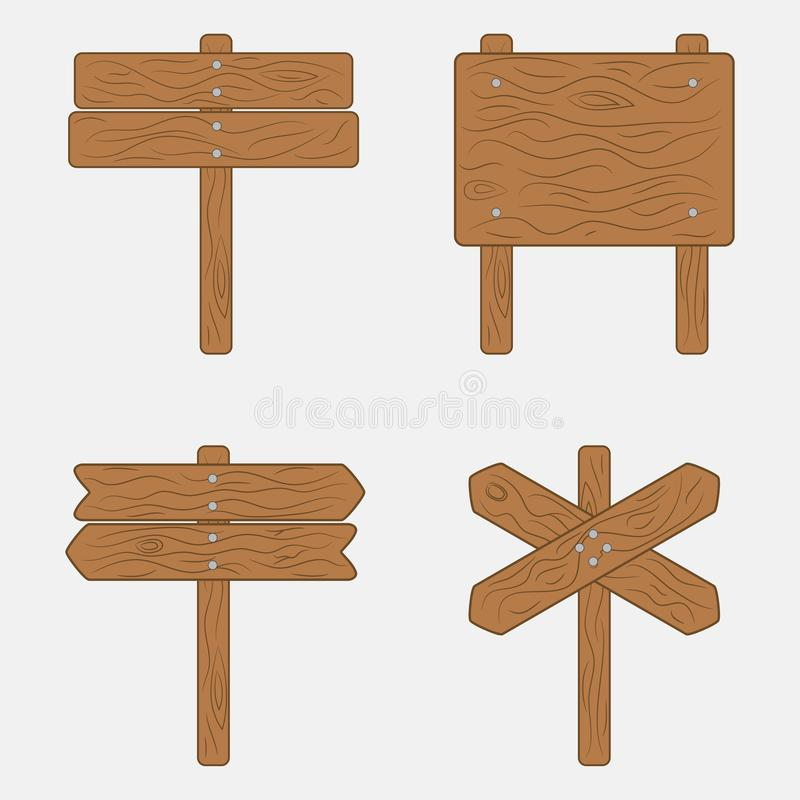 Wooden sign boards and signpost. Vector illustration. royalty free illustration