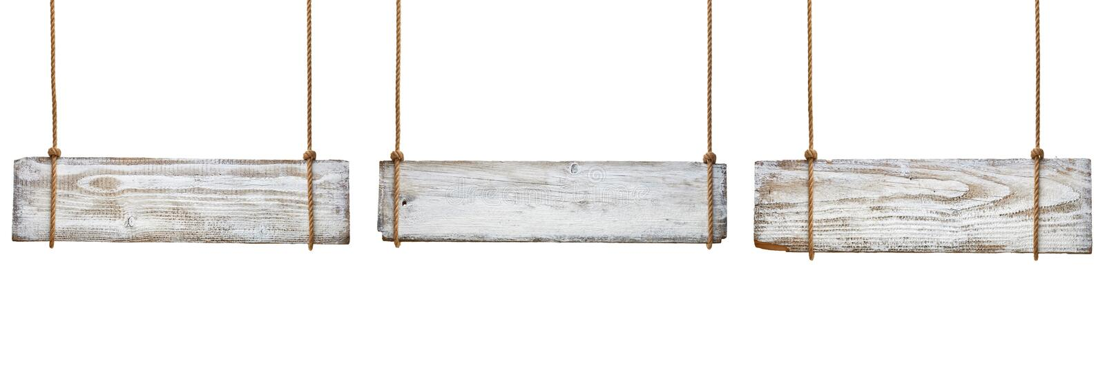 Wooden sign. Collection of various empty wooden signs hanging on a rope on white background. each one is shot separately stock photos
