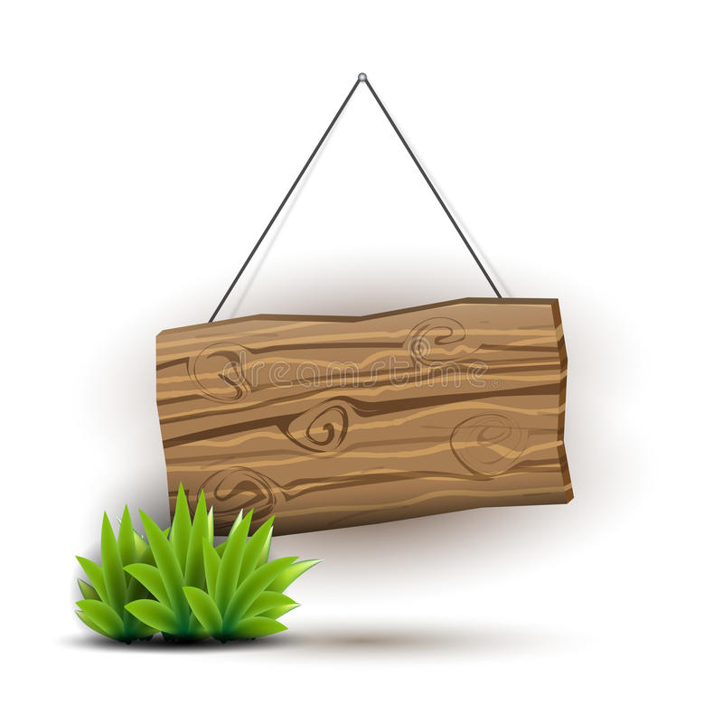 Wooden sign concept. Empty wooden sign hanging on a rope. Juicy grass. Plank of wood realistic illustration in natural colors and pseudo 3d. Vector illustration royalty free illustration