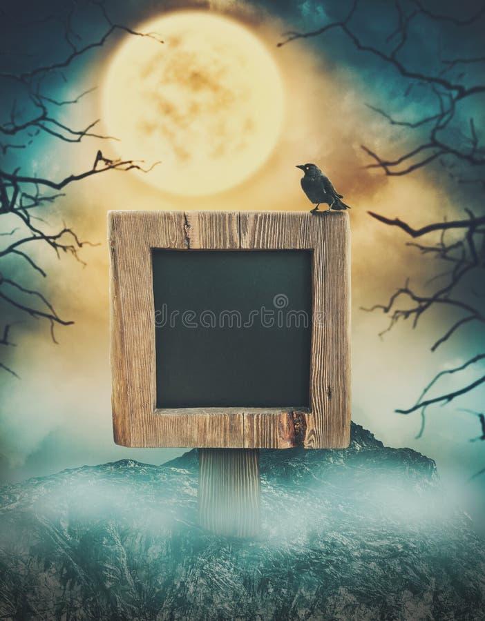 Wooden sign in dark landscape with spooky moon. Halloween design vector illustration