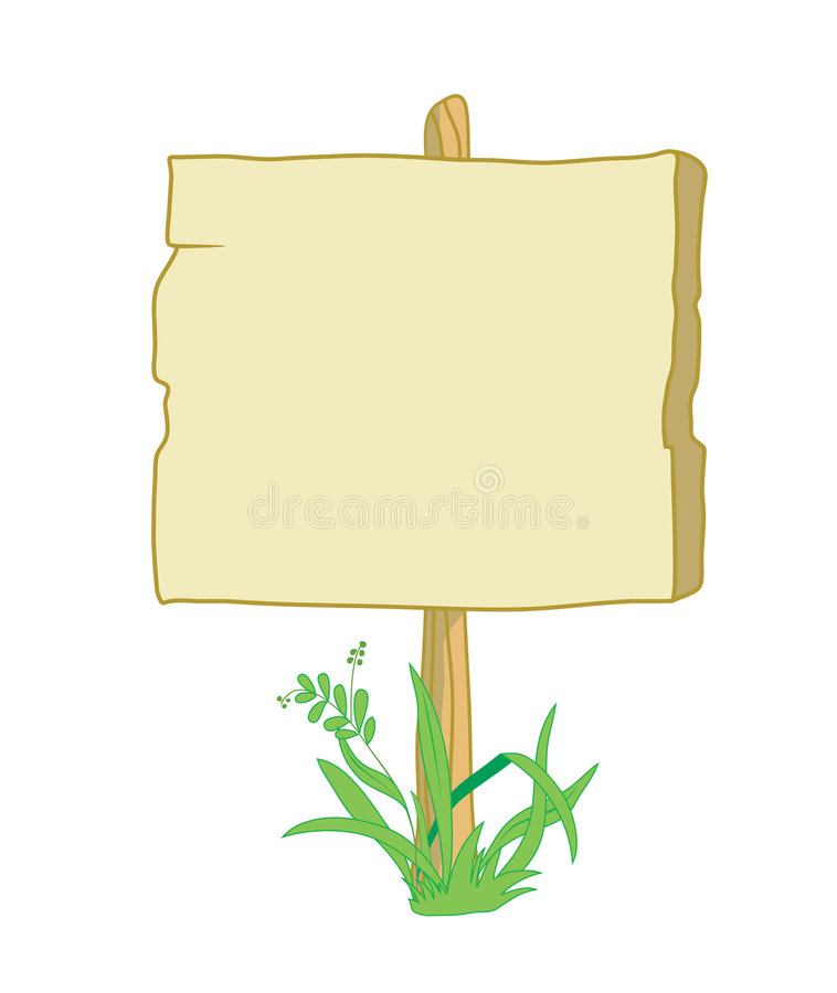 Wooden_sign_with_grass illustration stock