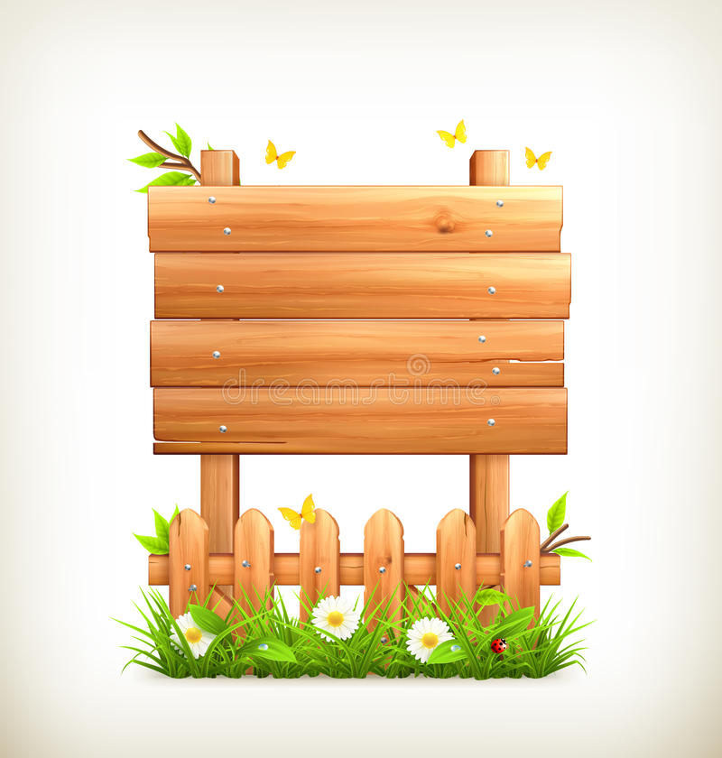 Wooden sign in grass stock illustration