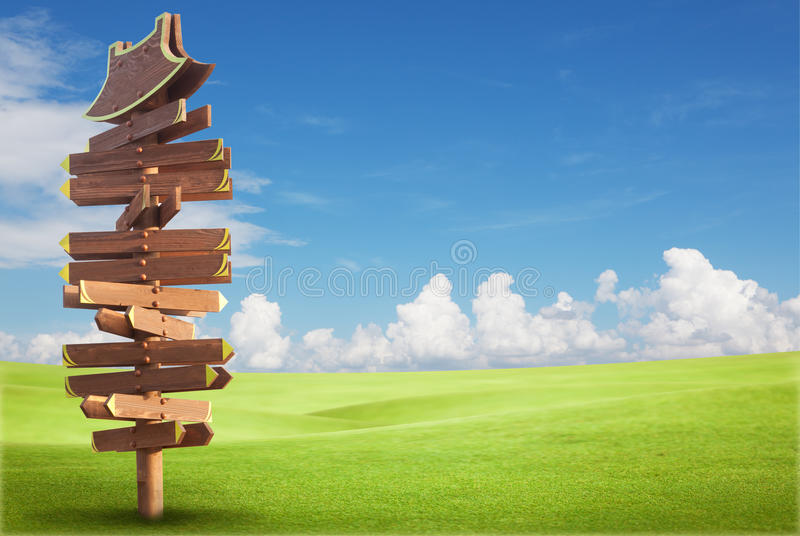 Download Wooden Sign On The Green Field Stock Photo - Image: 19834620