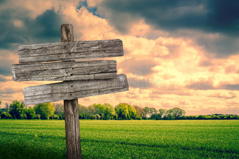 Wooden sign on a green field royalty free stock image
