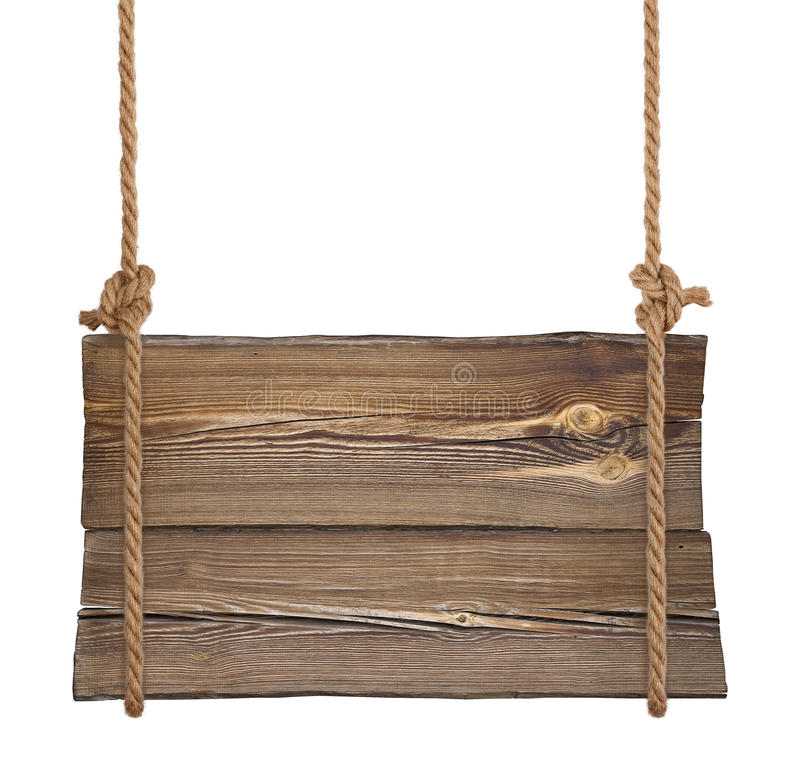 Wooden sign hanging on ropes stock images