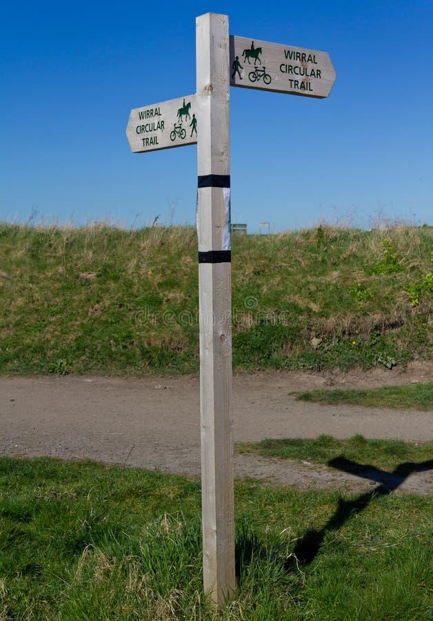 Wirral Circular Trail sign, Leasowe, Wirral, England royalty free stock photos