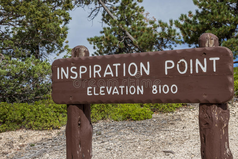 Wooden sign at Inspiration point in Bryce Canyon stock photo