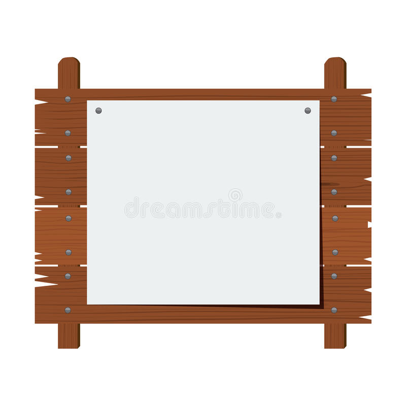 Wooden sign isolated on white background. Vector illustration. Wooden sign isolated on white background. Flat color style design illustration stock illustration