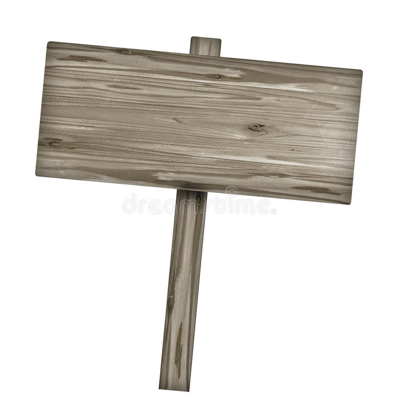 Wooden sign isolated on white. Wood old planks sign. stock image