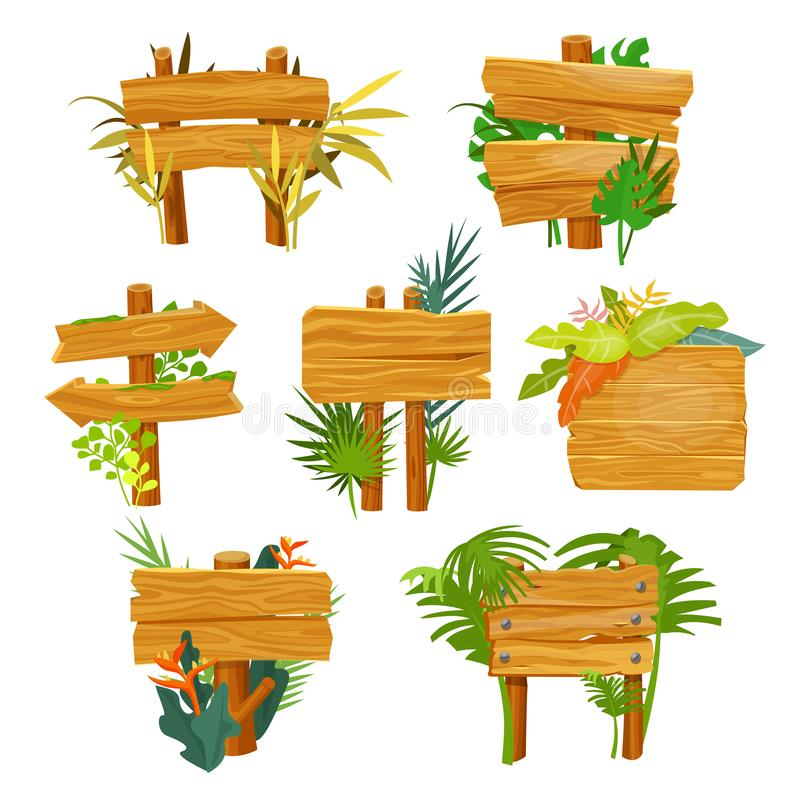 Wooden sign with jungle leafs, empty frame stock illustration
