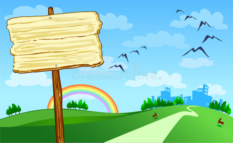 Wooden sign and landscape stock photography
