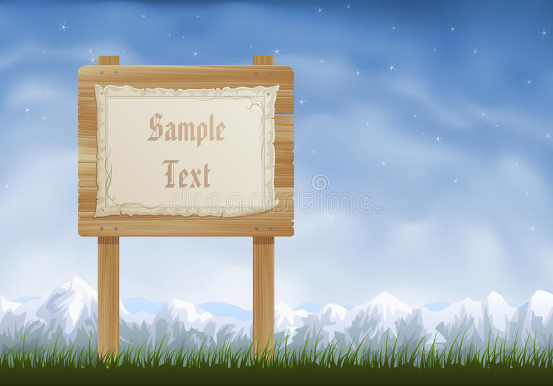 Download Wooden sign post stock vector. Image of nailed, medieval - 9866217