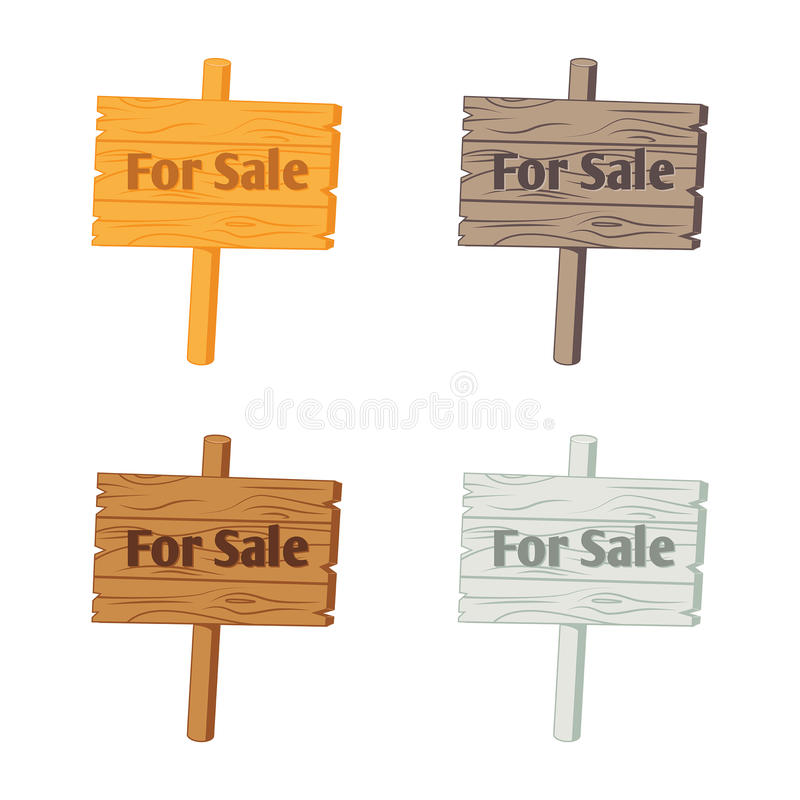 """Wooden sign """"For Sale"""". Vector illustration isolated on white royalty free illustration"""