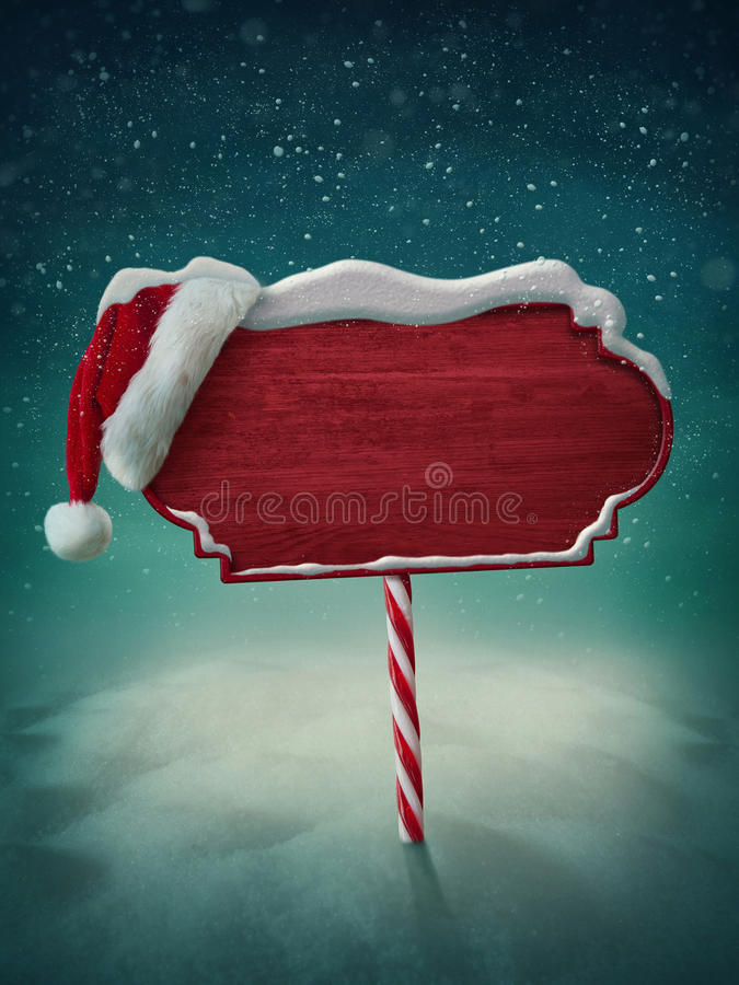 Wooden sign and santa hat stock illustration