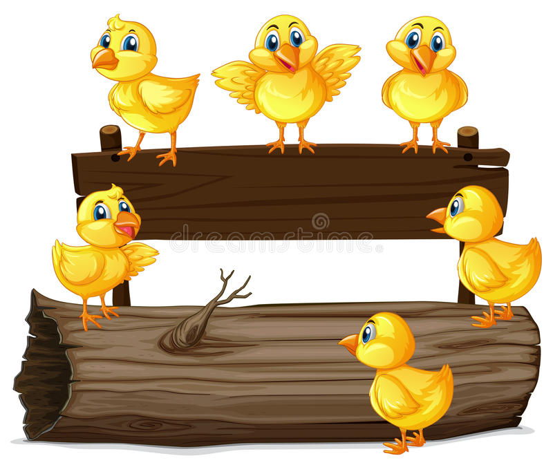 Wooden sign with six chicks. Illustration royalty free illustration