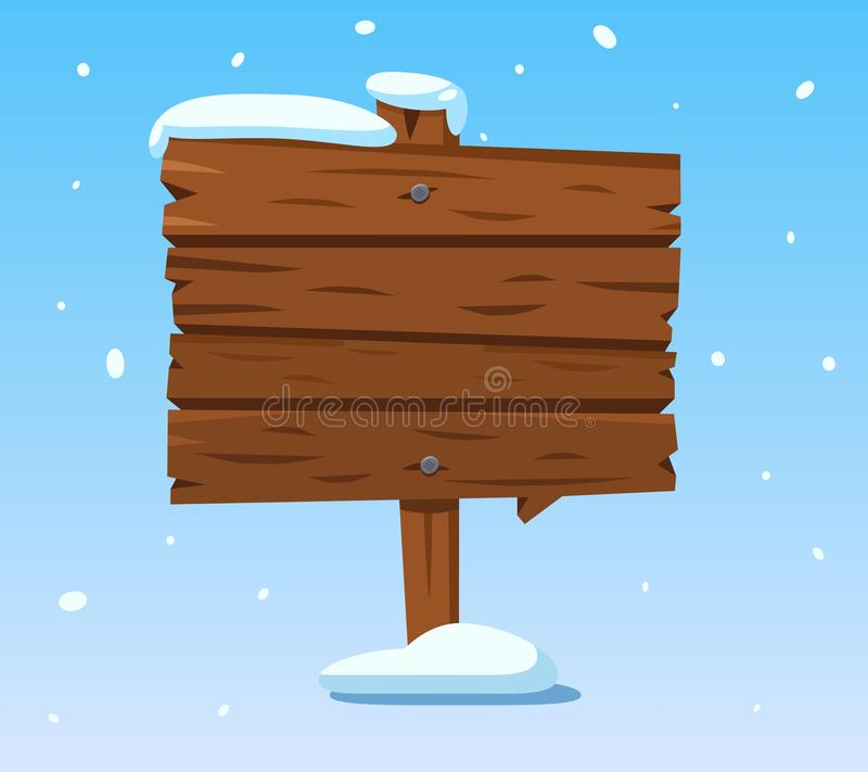 Wooden sign in snow. Christmas winter holidays signpost. Cartoon wood vector sign stock illustration
