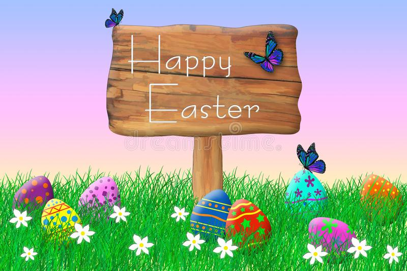 Wooden Sign Surrounded by Easter Eggs stock photos